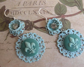 Vintage Lace Collection in Blue . vintage flower jewelry rhinestone sterling silver dangle earrings
