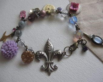 Violets in Paris.vintage assemblage jewelry french inspired  bracelet