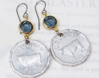 Uruguay, Vintage Coin Earrings - - Happy Cows - - Cattle - Bull - Steer - Taurus - Farm - Argiculture