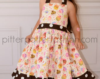 Boutique girls cupcake halter twirl dress brown and white Dots 12 month 2 3 4 5 6