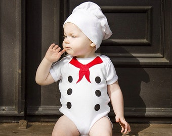 Little Chef Baby Costume, Baby French Chef Bodysuit, Foodie Costume, Funny Baby Shower Gift, Baby Boy Clothes,