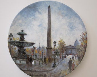 "Limoges France Louis Dali ""La Place de la Concorde"" Collector Plate French Porcelain Plate Vintage Plate French Decor Paris Apartment Fall"