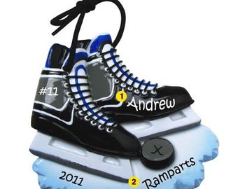 Personalized Christmas Ornament Hockey Skates, Hockey Puck,Sports, Coach, Team Gift- Free Personalization