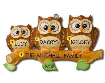 Personalized Christmas Ornament Owl Family of Three -Free Personalization
