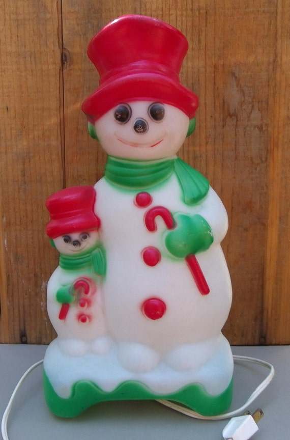 Blow Mold Snowman Two Sided Empire Products Light 1970s