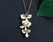 Gold Orchid Necklace Flower Charm Necklace, Wedding jewelry Bridesmaid necklace, Simple orchid flower jewelry, Wedding jewelry Bridal gift