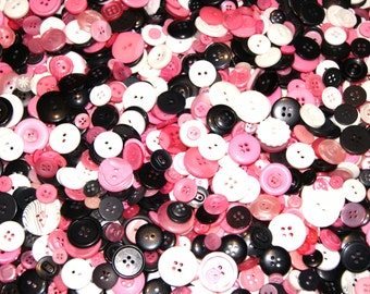 50  Pink Black White Button Mix, Assorted sizes, Sewing, Grab Bag, Crafting,Jewelry  (1518)