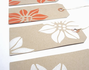Poinsettia Gift Tags - Flowers - Christmas Gift Tags - Large Kraft Tags