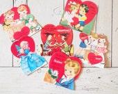 Vintage Valentine's Day Cards Set of Six Cards Vintage Ephemera Valentine Wedding Decor
