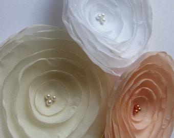 "Handmade Fabric flowers - Peach flower - Salmon flower - Ivory flower Cream White - 3"" Silk flowers - Fabric flowers in white peach ivory"