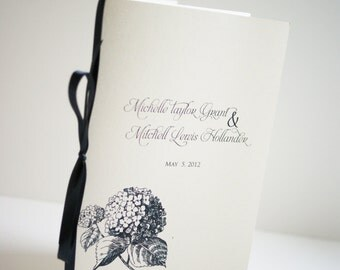 Hydrangea Wedding Program Booklet customized in your colors