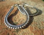 Beaded Sterling Silver Stirrup Hoop Earrings