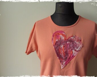 Tattered Heart Tshirt, Creamsicle Orange Upcycled T Shirt, Recycled Clothing, Boho Shabby Chic Mori Girl Tops, Crooked Heart, Short Sleeve