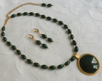 """Green Mountain """"Jade"""" Necklace and Earring Set"""