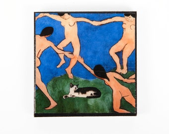 Impressionist Art Refrigerator Magnet, Henri Matisse, Parody, Cat Magnets, Fridge Magnets, Kitchen Magnets, Deborah Julian