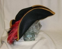 Black Pirate Hat - Classic Tricorn with Gold Trim and Red and Black Feathers