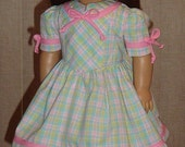 American Girl Doll 1940s Pastel Plaid Dress For Molly, Emily