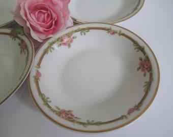 Vintage Dessert Bowls Limoges Haviland Pink Green Floral Set of Four