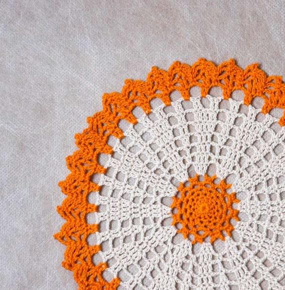 Autumn Harvest Crochet Lace Doily, Pumpkin Orange, Ecru, Home Decor, Original Design by NutmegCottage