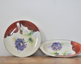 Vintage Noritake Floral China Display Serving Set Lemon Dish Relish Hand Painted Formal Dining