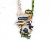 Free Form Crocheted Necklace in Ecru,Green Lime,Blue and Gold,Blue Agate,Sodalite,Amber Sea Shell, Serpentine