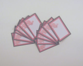 Pink Bunny Notecards or Place Cards with White Envelope Set of 12 Baby or Party Blank Cards