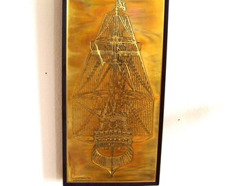 Bernhard Rohne Metallic Design Studio Acid Etched - Dutch Ship, Gouda 1665 -Given as a gift ware / salesman sample / business incentive only