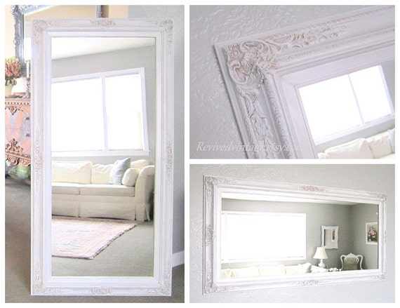 Full length mirror for sale white baroque framed by for Long thin decorative mirrors