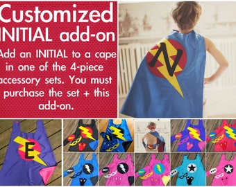 Customized INITIAL - ADD ON - for the Childrens Superhero Cape plus Accessory Set