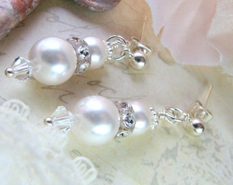 Classic Bridal White Pearl Earrings - White Pearl Earrings - Bridal Jewelry - MOH Earrings
