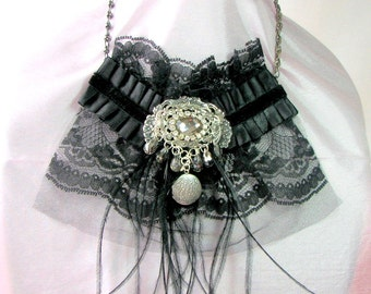Black Lace Necklace - Black Lace Bib Necklace - Black Lace Steampunk Necklace - Lady Mary