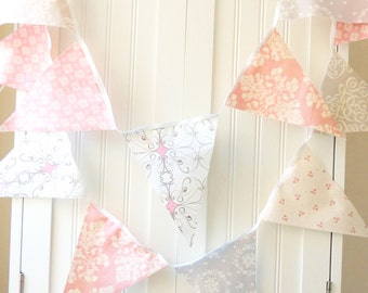 Wedding Bunting Banner, Fabric Flags, Shabby Chic Wedding Decor, Vintage Pink, Grey, Floral, Damask, Flowers, Photo Prop, Baby Girl Nursery