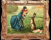 Vintage Easter Girl And Bunny Miniature Dollhouse Art Picture 1954