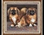 Pekingese Dogs Miniature Dollhouse Art Picture 4278