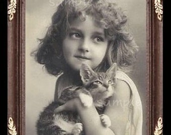 Vintage Girl And Kitten Miniature Dollhouse Art Picture 1028