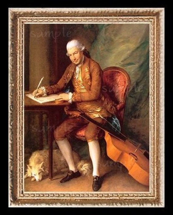 1700's Gentleman With Chello Miniature Dollhouse Art Picture 6316