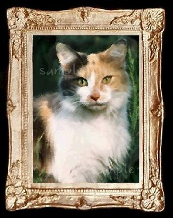 Calico Cat Miniature Dollhouse Art Picture 6128