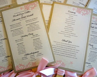Beach Coral Inspired Wedding Program Fans With Ribbon