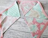 Bubblemint-- pink and aqua seafoam mint floral bunting banner