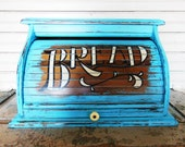 Turquoise Roll Top Bread Box Distressed Wooden