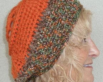 Slouchy hat women's fashion crochet winter hat orange ski hat