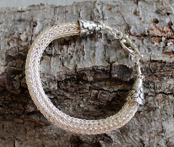 Trichinopoly Chainwork, Viking Knit Bracelet, Viking Chain Knitting, Viking Jewelry, Silver filled Viking Knit Bracelet