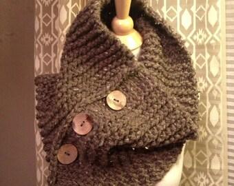 Handknit Button Cowl in Cocoa