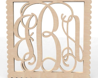 "3 Letter Monogram Door or Wall Hanger w Square Sculpted Frame 12"" tall Custom Made."