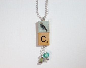 Bird and crown Scrabble letter C pendant