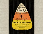 Halloween invitation, candy corn theme,  kids Halloween Invitation, adult Halloween invitation, Halloween printable, trick or treat, candy