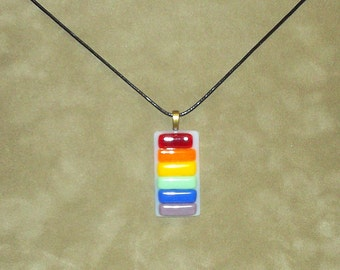 Fused Glass Rainbow Rectangle Pendant