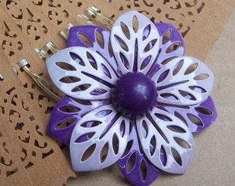 Vintage hair comb purple flower rockabilly hair accessories hair pin hair clip hair slide hair barrette hair decoration hair adornment 1980s