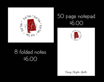 Personalized Alabama Note cards or Note Pads...your choice