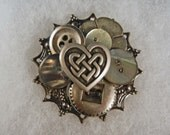 Celtic heart button pin